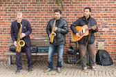 Street musicians in Bremen city — Stock Photo