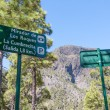 Traffic sign for walkers in the mountains of La Palma, Canary Islands — Stock Photo