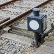 Old manually control device for a railway switch — 图库照片