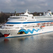 KIEL, GERMANY - APRIL 27: A big passenger ship with unknown tourists is moored in the harbor on April 27, 2013 in the harbor of Kiel, Germany — Stock Photo