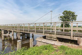 Wooden bridge in Dutch National Park Weerribben — Stock Photo
