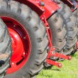 Rear view row of tractor wheels — Stock Photo