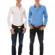 Male twins with white and blue blouse standing together — Stock Photo