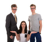 Girl has to choose one boy from two twin brothers, one boy is businessman, the other is a sportsman. — Stock Photo
