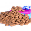 Pile of ginger nuts and presents, a Dutch tradition at Sinterklaas event in december — Stock Photo