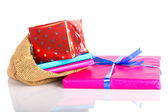 Jute bag with presents, a Dutch tradition at Sinterklaas event in december — Foto Stock