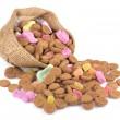 Jute bag with ginger nuts and sweets. — Stock Photo