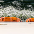 Top view of lifeboats at a big ferry between Germany and Sweden — Stock Photo