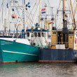 Dutch harbor of Urk with modern fishing cutters — Stock Photo