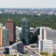 Aerial view of Berlin with Potsdamer Platz and public park Tiergarten — Stock Photo