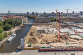 BERLIN, GERMANY - JULY 22: Aerial view building site of the Berliner Stadtschloss on July 22, 2013 in Berlin, Germany. The former Royal Palace destroyed in 1950 will be rebuild. The building is going — Stock Photo