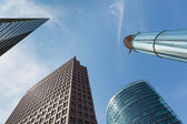 Upward view of modern skyscrapers near Potsdamer Platz in Berlin — Stok fotoğraf