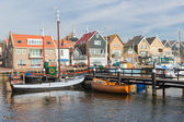 Dutch harbor of Urk with traditional wooden fishing ships — Stock Photo