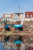 Dutch shipyard of Urk with historic fishing ships — Stock Photo