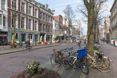 THE HAGUE, THE NETHERLANDS - MARCH 27: Streetview with parked bicycles in the old center of the Dutch governmental city on March 27, 2014 in The Hague, the Netherlands — Stock Photo