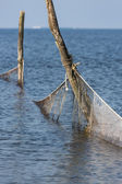 Dutch sea with fishing nets — Stock Photo
