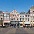 ������, ������: Townscape with people sitting on terraces of Delft the Netherlands