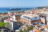 Aerial view of Portugese Funchal with a big cruise ship in the harbor — Stock Photo
