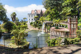 Tropical garden with pond and palace at Funchal,  Madeira island, Portugal — Stock Photo