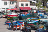 Harbor with fishermen and fishing ships in Funchal, Portugal — Stock Photo