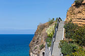 Cliffs with staircase at the coast of Madeira, Portugal — Stock Photo