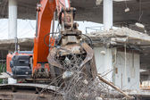 Demolition of a building with concrete floors and pillars — Stock Photo