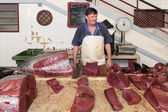 Butcher at the fish market of Funchal, Madeira Island — Stock Photo