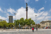 Placa with statue of Columbus near the harbor of Barcelona in Spain — Stockfoto