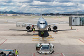 Plane at the airport of Barcelona in Spain — Stock Photo