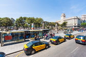 Bus stop at Plaza de Catalunya in Barcelona — Stock Photo