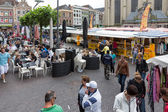 People shopping at a  market of Zwolle in the Netherlands — Stock Photo