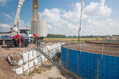 Construction site of a foundation for a huge new Dutch wind turbine — Stock Photo