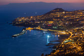 Aerial view of Funchal by night, Madeira Island — Stock Photo