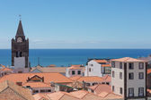 Aerial view roofs of Funchal with cathedral tower, Madeira, Portugal — Stock Photo