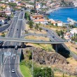 Aerial view at coast Madeira with Highway along Santa Cruz — Stock Photo #51784279