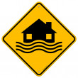 Flood Disaster Yellow Sign — Stock Vector