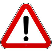 Czerwony wykrzyknik znak — Wektor stockowy