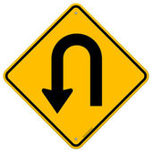 U-turn roadsign — Vettoriale Stock