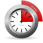 Klok 15 minuten te gaan — Stockvector