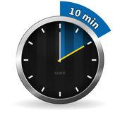 Klok van 10 minuten te gaan — Stockvector