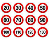 Speed Limit Sign Set — Stock Vector