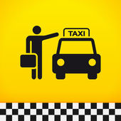 Taxi Theme with Passenger — Stock Vector