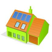 Green Family House — Stock Vector