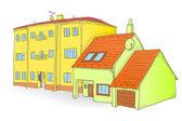 Handmade buildings — Stock Vector