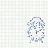 目覚まし時計の落書き — ストックベクタ