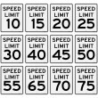 Stock Vector: Speed Limit Sign Set