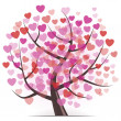 Tree with Hearts — Imagen vectorial