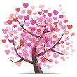 Tree with Hearts — Vettoriali Stock