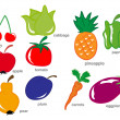 Fruit and Vegetable set — Imagen vectorial