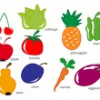 Fruit and Vegetable set — Stock Vector